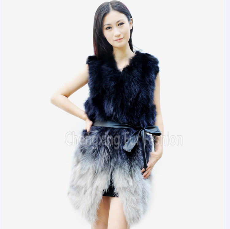 CX-G-B-81A 2017 Popular Design Fashion Real Raccoon Fur Vest