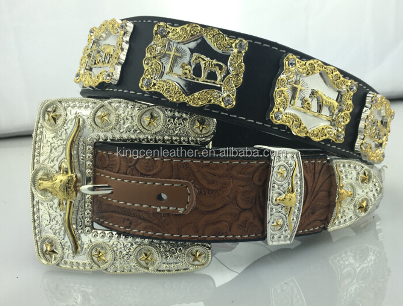 Luxury western men style gold buckle ornament floral print cowhide leather rhinestone cowboy belts