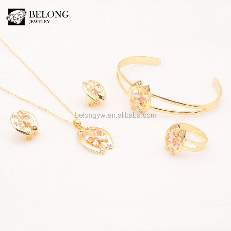 BLAS0015 yellow cubic zirconia triple color bow knot gold plated popular jewelry set