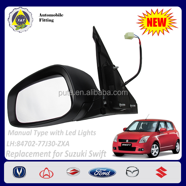 Car Spare Parts 84702-77J30-ZXA Manual Type with Led Lights Left 2 lines Side Mirror for Suzuki Swift 1.3L