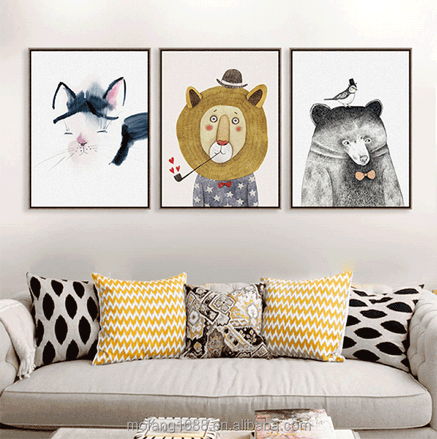 Modern Simple Cartoon Animal Children Room Murals Nordic Living Room Decorative Canvas Painting Porch Restaurant American Home H