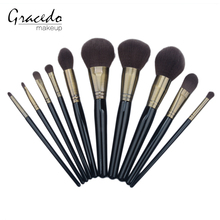 New Design Wholesale 10pcs Makeup Brushes Barbe Black Comestic Brushes with Nylon Bristle