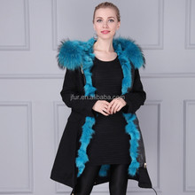 Womens girls raccoon fur collar leather Jacket fox Coat trench parkas outwear
