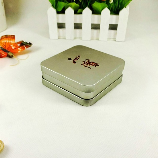 silver embossed print square metal can tin