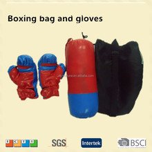 Factory price soft PU boxing sandbags and gloves for kids,customized logo punching set