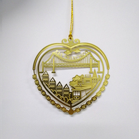 Hot Sale Etched Heart-shaped Decoration Metal Ornament as Christmas Gifts
