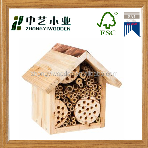 factory sale FSC handmade Wooden beehive bee Insect gift nest House