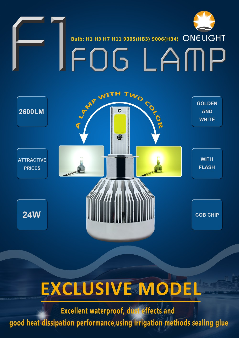 Guangzhou factory OEM light the lowest price F1 LED fog lamp 3000K and 6500K with flashing