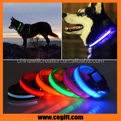 dog collar led lights with adjustable plastic buckle