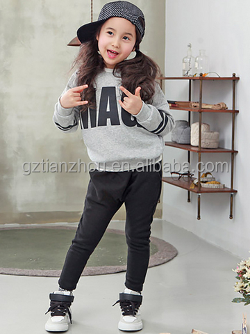 Hot Selling Girl's Pants Set 2 Pcs Letter Leisure Hoodie Pants Girl's Set