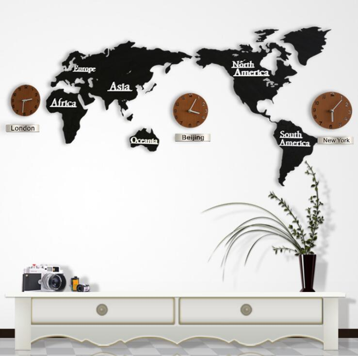 List manufacturers of modern wall clock buy modern wall clock get modern european style world map large wall clock creative 3d wooden wall clock wall mounted clock gumiabroncs Image collections