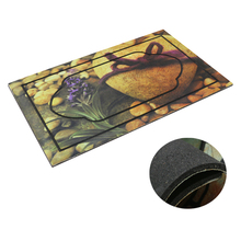 New fall design rubber door mat used in outdoor or indoor entrance, flocking rubber door mat