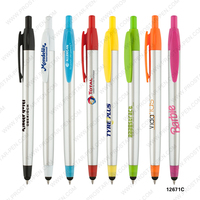 cheap promotional colorful clip and trim silver plastic stylus pen