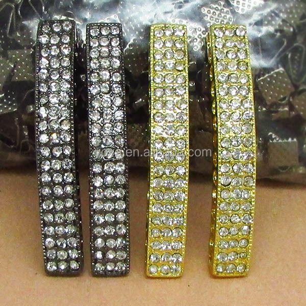 JF2135 Wholesale Crystal Rhinestone Pave Curved Spacer Tubes,Jewelry Metal Tubes
