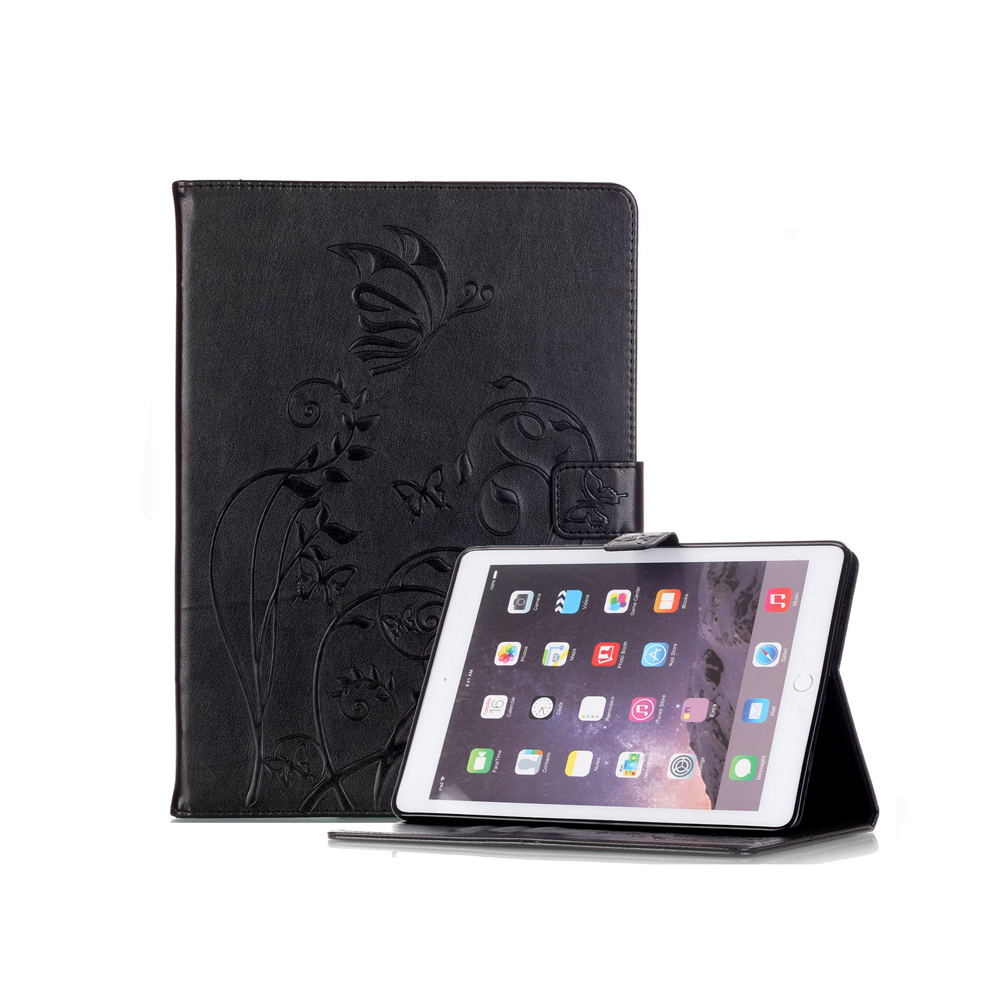 Fashion Butterfly Flower Wallet Sleep Wake Up Leather For iPad Air 2 Case Stand Smart Cover