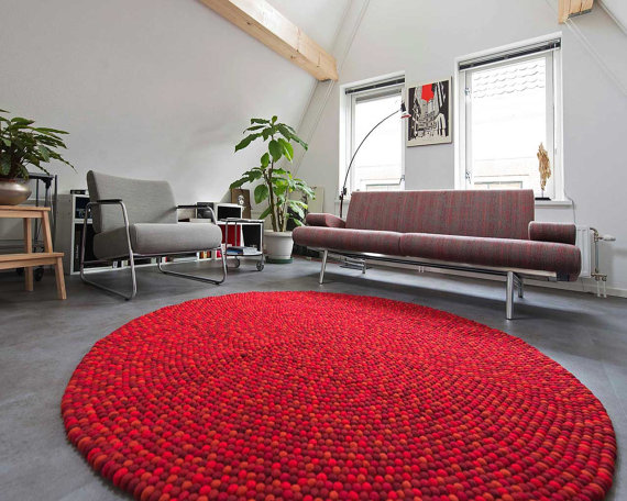 alibaba china suppliers 100% wool felt ball rug for living room