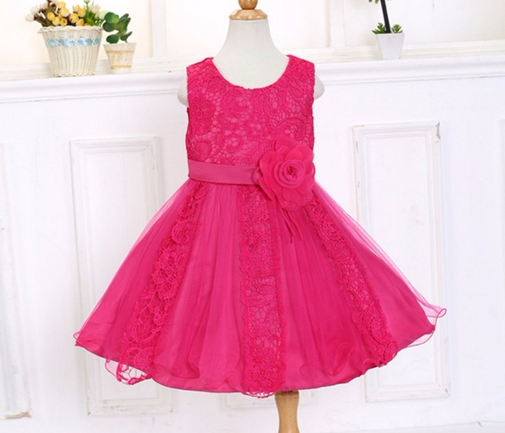 2017 New girl dress ,lace flower dress ,stitching children dress princess dress