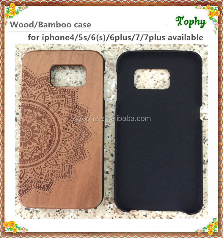 Handcraft Engraving Flowers Wooden Mobile Phone Cover For Iphone7 for galaxy s6 Case