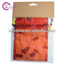 drawstring organza red fancy bag