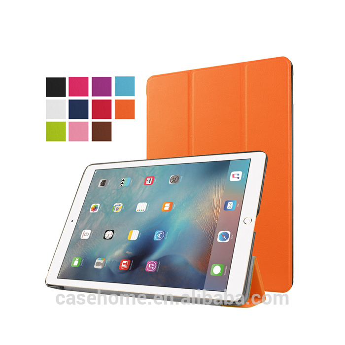 Stock wholesale caste three fold PU leather table case for iPad pro 9.7 inch 2017