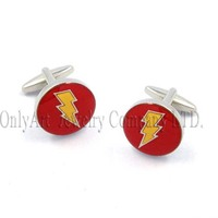 THE FLASH symbols shiny polish and nickel free fine movie theme cufflinks and tie clip set