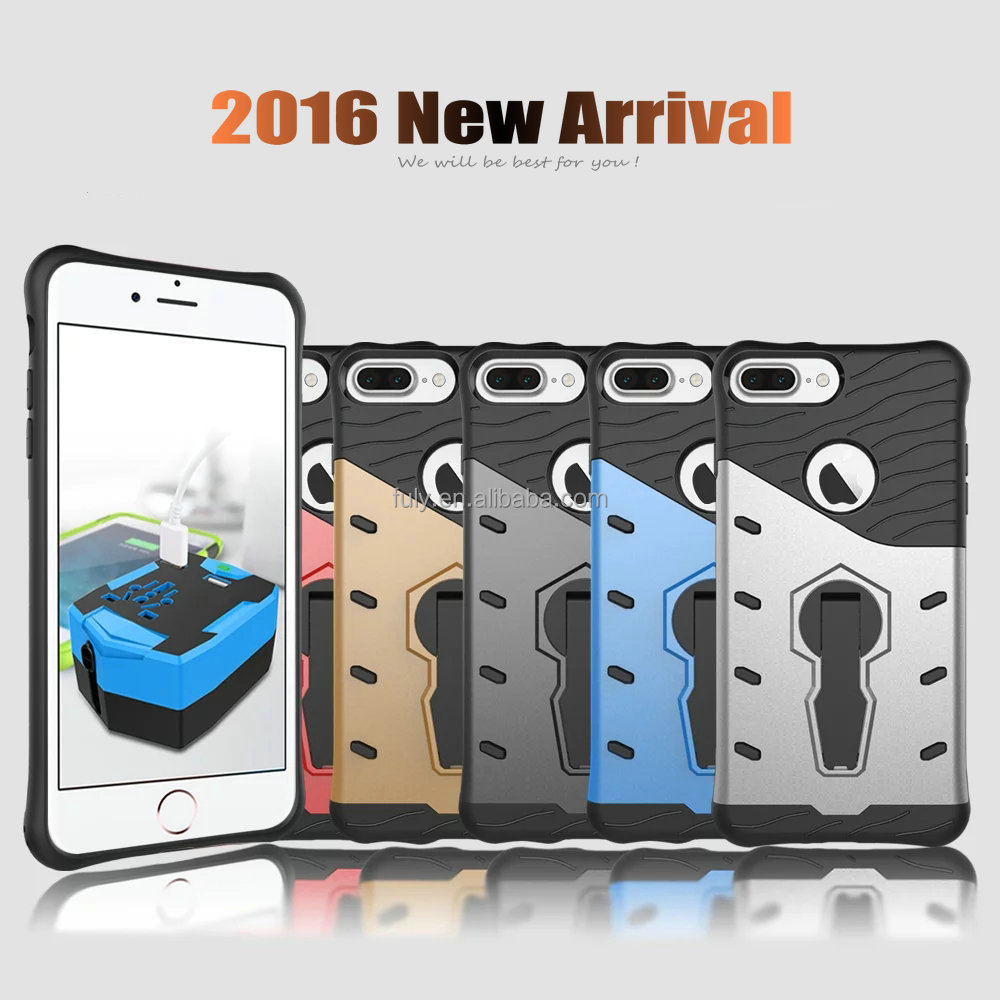 2017 New Hard Plastic PC+TPU Armor Defender Case for iphone 7Plus 7 plus 6 6S 5s SE with 360 Rotating Kick Stand Phone Cover