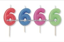 Wholesale Number 6 Pink Candle Numeral Birthday Candle 0-9/ solid color Number candles Solid Color Partyware Party Supplies