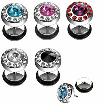 Fake Plug Piercing Barbell Ear Stud 5 Color Selection With Crystals
