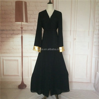 Elegant Black muslim dress cheap price abaya jubah islamic clothing malaysia