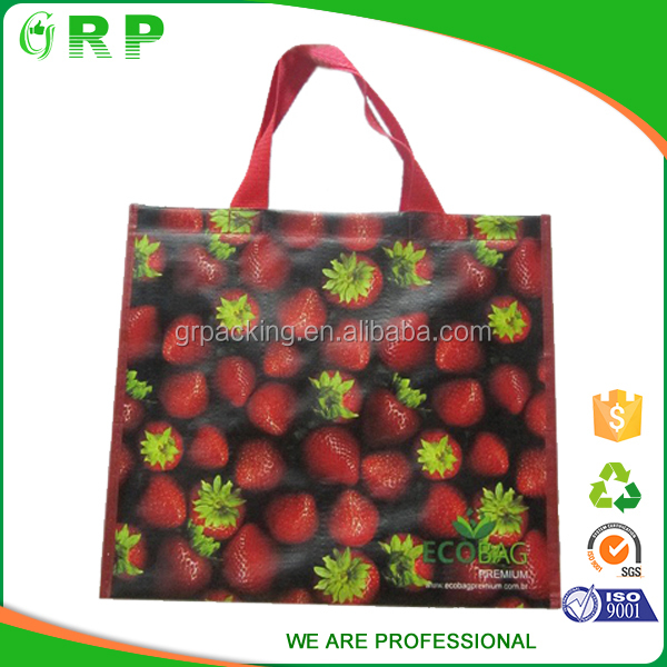 Unique design fruit strawberry pattern foldable pp woven fabric shopping bags