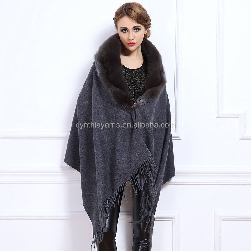 2016 New Winter Autumn Fur Coat Women Cardigan Knitted Plus Size Wool Poncho