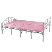 Pink single folding metal bed with factory price