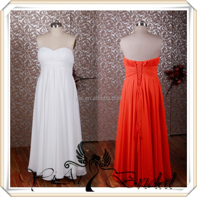 RSE231 Simple Long Chiffon Bridesmaid Dresses Coral Color
