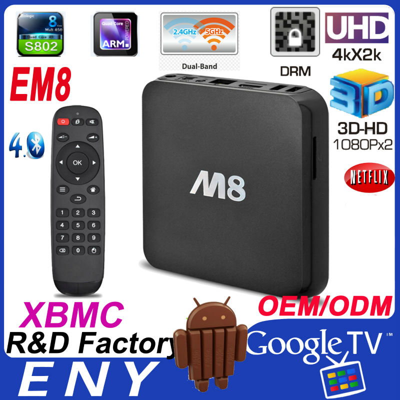 EM8 Android 4.4 Ultra HD 2K4K Bluetooth XBMC 2GB/8GB Quad Core TV Box 3d blu-ray hdd media player