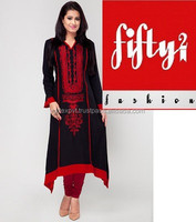 Amazing Embroidered Stylish Black Long Frock Kurti 2015