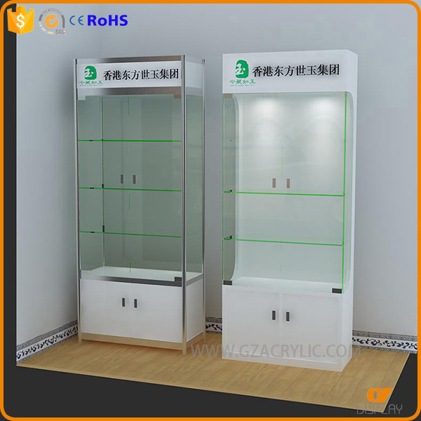 wooden glass custom design cosmetic store display with lights