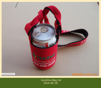 2014 hot selling Cheap promotional Neoprene can cooler with strap
