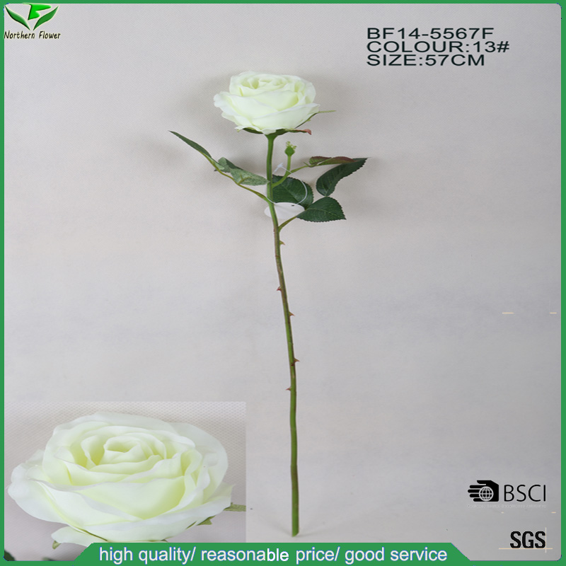 China factory fabric artificial flowers,handmade white silk artificial rose bud single stem flower for decoration