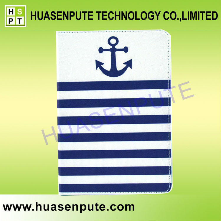 Navy Blue Strip Printed Leather Case Cover Smart Stand for iPad5