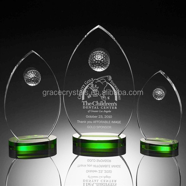 Crystal golf plaques trophies with green standing