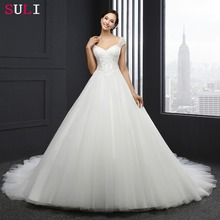 ML-0030 Vestido De Noiva Ivory Wedding Dress Custom Made Sequins Soft Lace Cap Sleeve Bride Dresses Lace Princess Dresses 2016