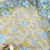 Light blue lace embroidered fabric small flower design dress lace for girl