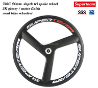 Superteam 56mm Carbon road Bike Tri Spoke Wheelset 3 spokes carbon road cycling Wheels