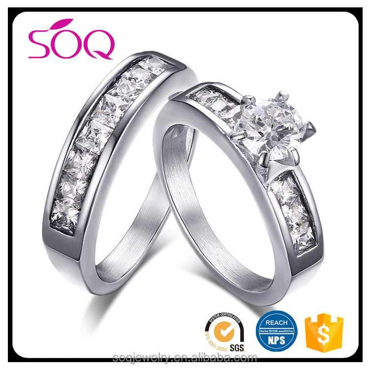 2017 Hot sale fashion stainless steel elegant crystal zircon couple wedding jewelry silver micro pave ring