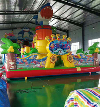 China kids used cheap and giant inflatable castle playground equipment with slides for sale