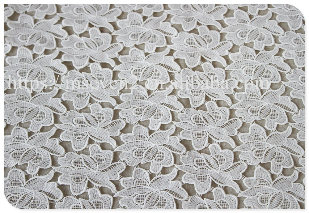 High quality allover embroidery flower water soluble korea lace fabric wholesale