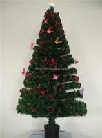 6ft Outdoor Multicolor Butterfly Decorative PVC Artifical Christmas Tree With Star, Plastic Pot Christmas Tree