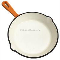 18 cm round porcelain enamel cast iron cookware frying griddle grill pan