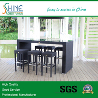 Outdoor Furniture Alum Frame Rattan Weaving Classic Bar Stool and Glass Table For Garden Furniture, Bar Shop, Home Furniture
