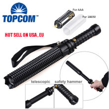 Expandable Telescopic Baton Police Self Defense Flashlight Light Torch